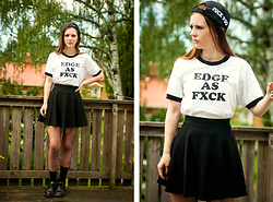 Sofia Holmberg - Http://Www.Sistersofstraightedge.Bigcartel.Com/ T Shirt - Edge as FXCK