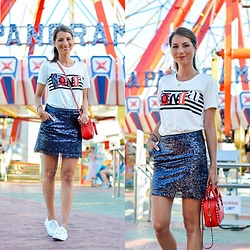 Stephanie Van Klev - Sonia Rykiel T Shirt, Mango Sequin Skirt, Valentino Bag, Superga Sneakers - HOLIDAY FUN