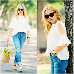 Zia Domic - Zaful Lace Top, Mango Frayed Jeans, Marc By Jacobs Espadrilles - Lace, Denim, Straw.