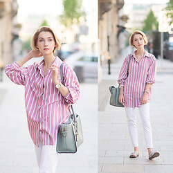 Olga Oktawia - Vintage Shop Shirt, Dkny Bag, Zara Pants, Vagabond Flip Flops - Footloose.