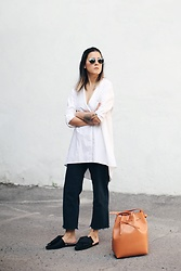 Elif Filyos - Need Supply Co. Back Button Shirt, Mansur Gavriel Bucket Bag, H&M Conscious Bow Slides - A Conscious Search