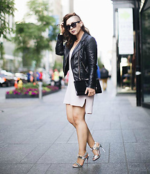 Meag Sheehan - H&M Jacket, Dynamite Tunic, Ysl Clutch, Christian Louboutin Sandals - Touch of Blush