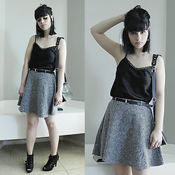 Lidia Zuin - Equus Black Satin Top, Rings & Tings Golden Hoop Earrings, Sammydress Gray Skirt With Black Belt, Carmen Steffens Black Leather Cross Bag With Golden Spikes, Clockhouse Black Peep Toe Boots - Much sweeter than chlorine and wine