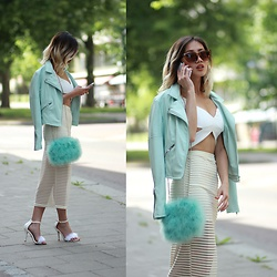 Louise Xin - River Island Fluffy Bag, Gina Tricot Mint Leather Jacket, Nasty Gal Cut Out Top, Motel Stripes Transparent Mesh Skirt, Boohoo Fluffy Heels - Fresh mint
