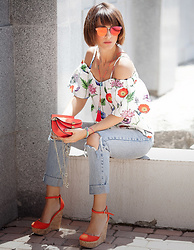 Galant-Girl Ellena - Asos Wedged Red Sandals, Re:Named Floral Off The Shoulder Top, Spitfire Red Mirrored Sunglasses - Floral