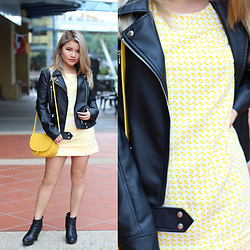 Sarah Mai - Paramita Yellow Check Print Dress, Zara Leather Jacket, Steve Madden Black Booties, Mango Yellow Structured Sling Bag - Yellow Check Print Dress x Leather Jacket