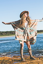 Alexe Bec - Spell Designs Poncho - Sunrise and a hint of turquoise.