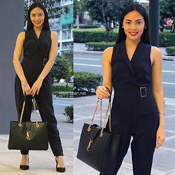 Czari Denise - Miss Selfridge Navy Blue Jumpsuit With Collar, Yves Saint Laurent Black Tote Office Bag With Gold Chains, Stradivarius Black Heels With Straps - My Most Overused Jumpsuit