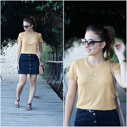 Carolina González Toledo - Mango Shirt, Zaful Necklace, Zara Bag, Stradivarius Skirt, Zara Sandals - Aires seventies