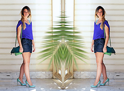 Burcu Arkut - Designroom Silk T Shirt, Koton Shorts, Designroom Bag - Purple and Turquoise Love