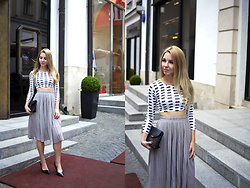Alina Velnikovskaya - Mystylemyshow Pleated Skirt, Mystylemyshow Crop Top, Zara Black Heels - Pleated skirt