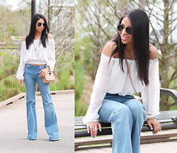 Karla Quinones - H&M Off The Shoulder Top, Mango Flared Jeans - Bell Bottoms
