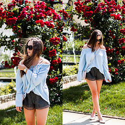 Gabriela Grębska - Shein Off Shoulder Blouse, Sheinside Lace Shorts, Reenee Lace Up Shoes - Off shoulder blouse