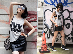 Samantha Mariko - Ivy Park Tank Top, The Dayz Tokyo Pleather Skirt, Ozoc Bag, Zerouv Sunglasses, Vans Shoes - IVY PARK