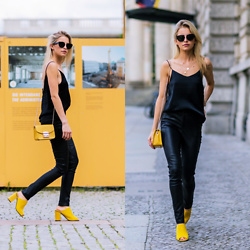 Caro Daur - Celine Sunnies, Furla Bag, Edited Leatherpants, Topshop Shoes - Black and yellow | Berlin