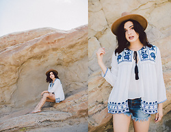 Michelle Dion - Forever 21 Floral Embroidered Kimono, Charlotte Russe Denim Shorts, Forever 21 Suede Wide Brim Hat, Charlotte Russe Lace Up Gladiators - On the Rocks