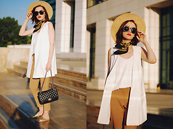 Andreea Birsan - Zaful Sunglasses, H&M Straw Hat, Mango White Camisole Top, Stradivarius White Vest, Mango Camel Trousers, Aldo Gold Metallic Mules, Pelledoca Black Crossbody Bag, Vintage Neck Scarf - Trousers: the sophisticated way to wear them
