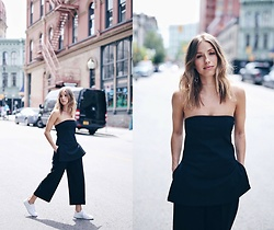 Jillian Lansky - Aritzia Strapless Top, Jenny Bird Silver Choker, Axel Arigato White Python Sneakers - Black on black