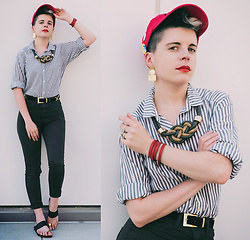 Carolyn W - Rain, Rings & Tings Knotted, H&M Striped, Vintage, H&M Skinny, Vince Camuto Black, Hermès Leather - Red Monday