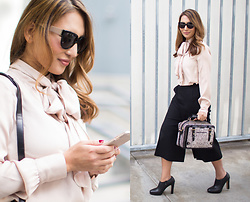 The Ambitionista - Nina Ricci Sunglasses, Etienne Aigner Bag, Arisology Black Pants, White House Black Market Tie Neck Blouse - Tie-Neck Blouse