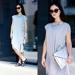Sofija Lukjanska - Pull & Bear Dress, Sasha Shoes, Mohito Clatch, Asos Watch, Mohito Necklace, H&M Sunglasses - GREY DRESS
