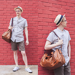 Scott This Guy Ah - Zalora Mandarin Collar Polo, The Academy Brand Shorts, Aldo Duffle Bag, Onitsuka Tiger Sneakers - Style Squad