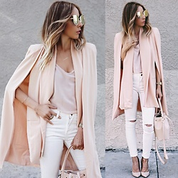 Maria De La Cruz - Haute And Rebellious Cape, Haute And Rebellious Skinny Jeans - Thinking Blush