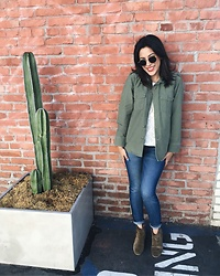 Tiffany - Equipment Army Jacket, Current/Elliott Denim, Isabel Marant Booties - Equipment x Kate Moss Army Jacket