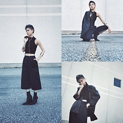 Dva Lau - Topshop Wide Leg Pants, Ann Demeulemeester Ankle Boots, Forever 21 Cropped Top, Cheap Monday Faux Coat - Bad example