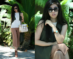 Adrienne Nguyen - Zara Swing Tank Top, Jessica Simpson Strappy Brown Heels, Forever 21 Culottes, Olive Green Sleeveless Duster Vest, Jord Watches Turquoise And Zebrawood, Reed Krakoff Boxer Tote, Chanel Sunglasses - Safari Vibes