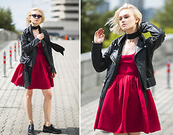 Lena Ushakova - Acne Studios Shoes, H&M Scarf, Acne Studios Leather Jacket - RED dress