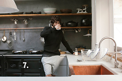 The Idle Man - The Idle Man Merino Wool Jumper In Black, The Idle Man Pocket T Shirt In Dark Grey, The Idle Man Sweat Shorts In Grey - Cool in the Kitchen