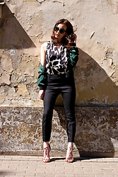 Anna Puzova - Christian Dior Shades, Cndirect Bomber Jacket, Asos Top, H&M Pants, Kazar Heels - Sophie's Gold Shine