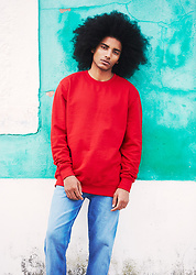 The Idle Man - The Idle Man Perfect Red Sweatshirt, Levi's® Blue Light Wash 511 Slim Fit Jeans - Red Look