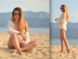 Martina Manolcheva - Dressin Dress, Pinkcess Bikini, Moschino Sunglasses - White By The Beach