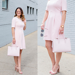 Jenn Lake - Eliza J Pink Embellished Fit And Flare Dress, Steve Madden Nude Patent Carrson Sandals, Strathberry Pink Leather Midi Tote, Quay Rose Gold Cherry Bomb Sunglasses, Movado Rose Gold Edge Watch - Pink Embellished Fit and Flare Dress