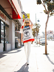 Rachel Lynch - Wildfox Black Lips Sunnies, Moschino Tee, The White Rock Star Thigh High Boot - Fashion kills