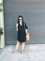Tiffany - Current/Elliott Smock Dress, Mansur Gavriel Bucket Bag, Dolce Vita Gladiator Sandals - La Brea & Fourth