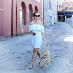 Alexandra G. - Old Navy Off The Shoulder Dress, J. Crew Lace Up Flats - Tanlines