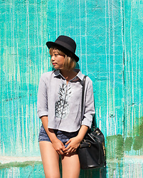 Tina Jo - Zara Bucket Bag, American Apparel Washed Out Shorts, Dezzal Pineapple Print Long Sleeve Blouse - Pineapple Vibe