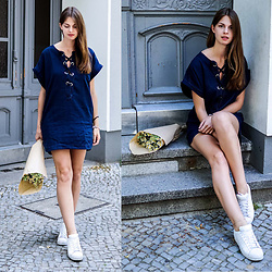 Jacky -  - Denim Dress with Lacing Detail