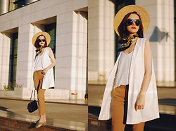 Andreea Birsan - Zaful Sunglasses, H&M Straw Hat, Vintage Neck Scarf, Mango White Camisole Top, Stradivarius White Waistcoat, Mango Camel Trousers, Aldo Gold Metallic Flat Mules, Black Crossbody Bag - Trousers: the sophisticated way to wear them II