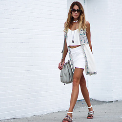 Lauren G. - French Connection Embellished Waistcoat, Raen Myer Chateau Sunglasses, French Connection Flat Ankle Strap Sandals, Joelle Hawkens Leather Bucket Bag, Zara Cropped Fluted Camisole, See You Soon White Miniskirt, Forever 21 Silver Choker - A Little Embellished