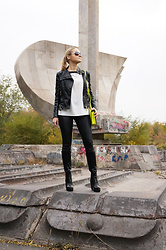 Irina Petrova - Reserved Black And White Top, Centro Black High Boots, Kari Neon Yellow Hangbag - Black, white and neon go on