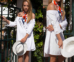 Silver Girl - The White Company Panama Hat, Gucci Silk Scarf, Rag & Bone Off Shoulder Dress - COUR DE MAISON
