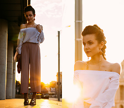 Andreea Chirila - Sheinside Off The Shoulders Blouse, Romwe Pleated Pants - Sunset Boulevard