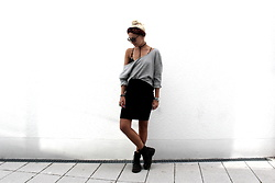 Miriam Mache - Volcom Shirt, Dr. Martens Boots - Off shoulder & lace bra
