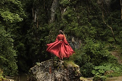 Ramona Crisstea - Created By Me Red Dress - Dancing in nature