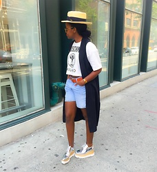 Liz Lizo - Moschino Top, Topshop Duster, Levi's® Shorts, Stella Mccartney Shoes - Weekending