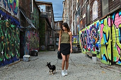 Maria P - Zaful Olive Suede Halter Top, Topshop Black Asymmetrical Mini Skirt, Converse White High Tops - Olive Suede